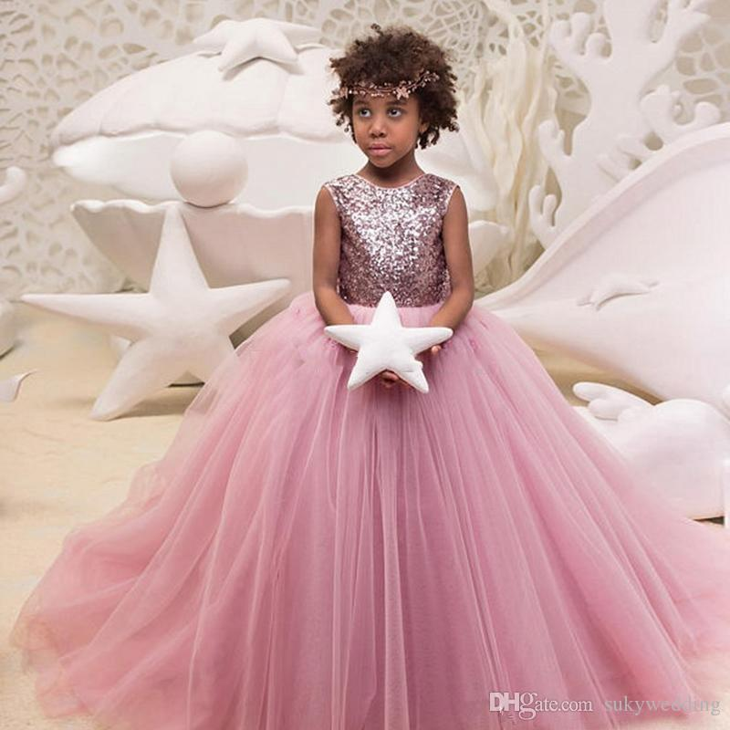 8052f45352 Pink Sequins Flower Girl Dresses Tulle Kids Ball Gowns Jewel Neck With Bow  Sleeveless Puffy Girl Pageant Gown First Communion Dresses Bridal Shoes Uk  Cute ...