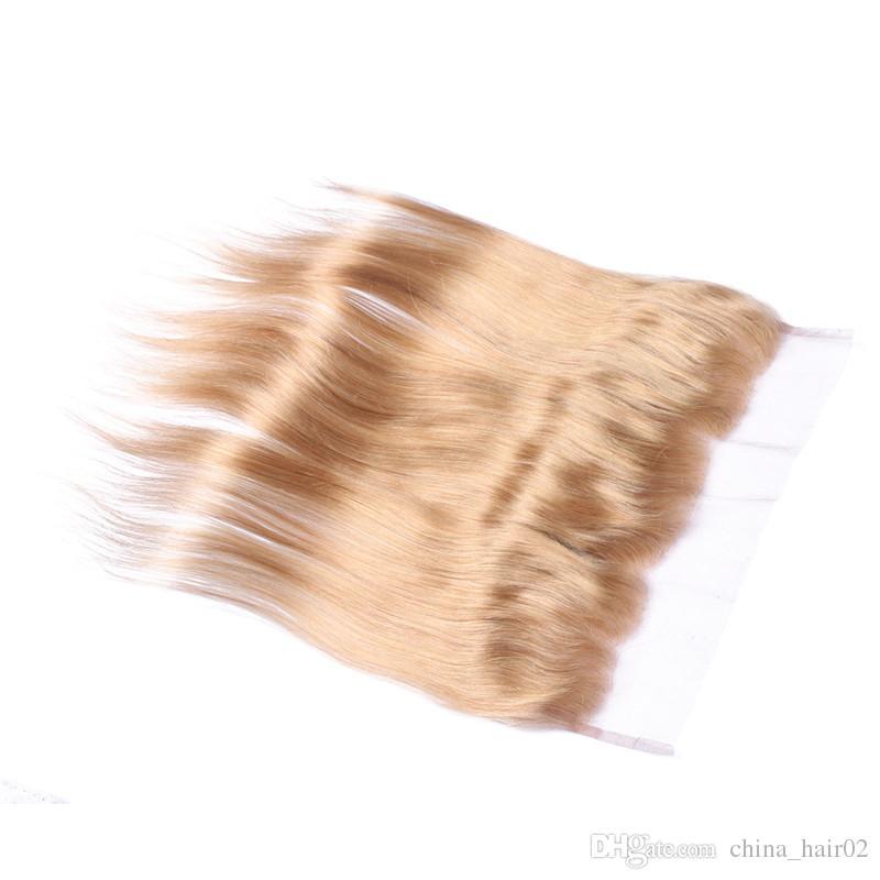 العسل شقراء الشعر البشري 3 حزم مع الرباط أمامي إغلاق 13x4 مستقيم # 27 الفراولة شقراء عذراء الشعر الهندي حزمة صفقات مع أمامي