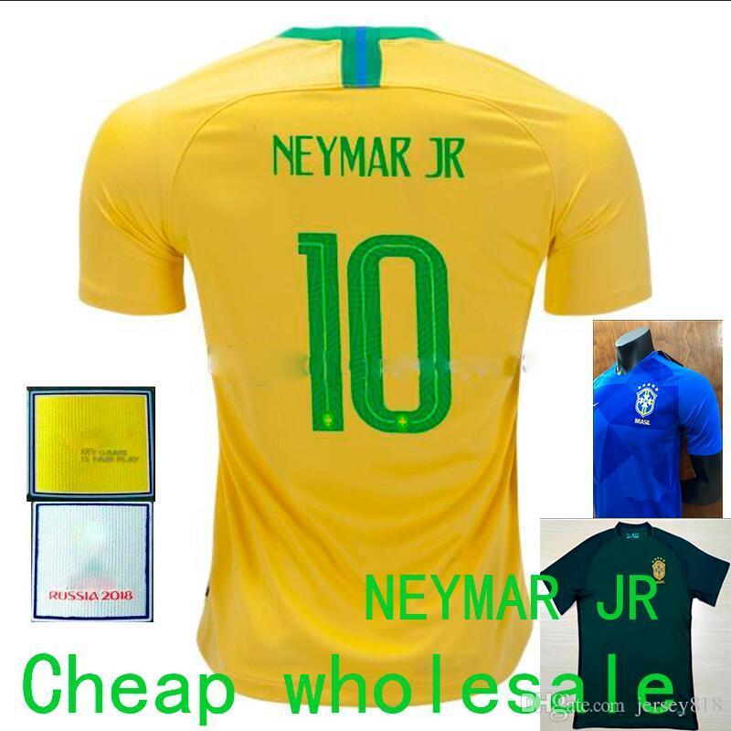 ba95cb9314 Compre Amarelo Amarelo Neymar Jr Brasil Casa Camisas De Futebol 2018 Copa  Do Mundo Azul Jesus coutinho Marcelo Firmino Camisa De Futebol De Verde  Camisa ...