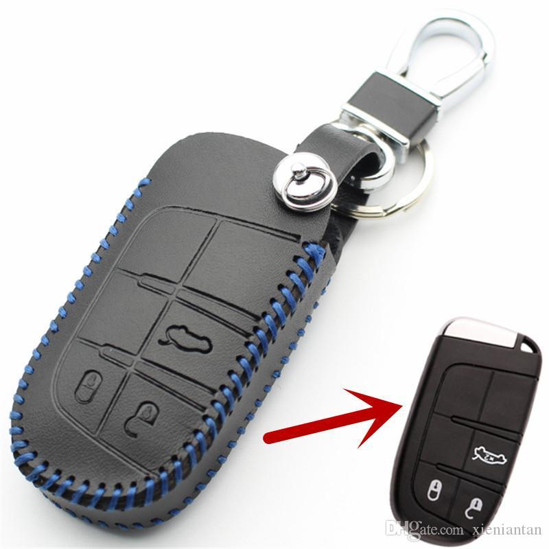 FLYBETTER Hakiki Deri 3 Düğme Akıllı Uzaktan Anahtar Kılıf Kapak Için Jeep Pusula / Grand Cherokee Fiat Viaggio / Ottimo Araba Styling L1974