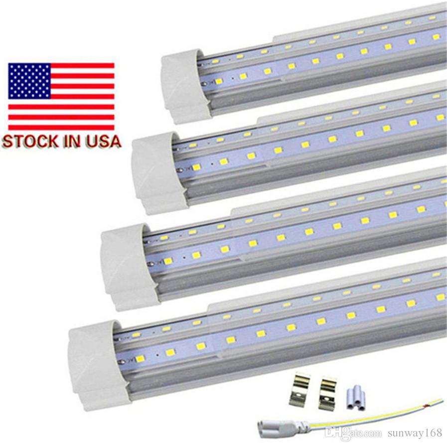 T8 v shaped 8ft led tube lights integrated 2ft 3ft 4ft 5ft 6ft 8 foot cooler door lighting double row shop lights tubes fluorescent fixture