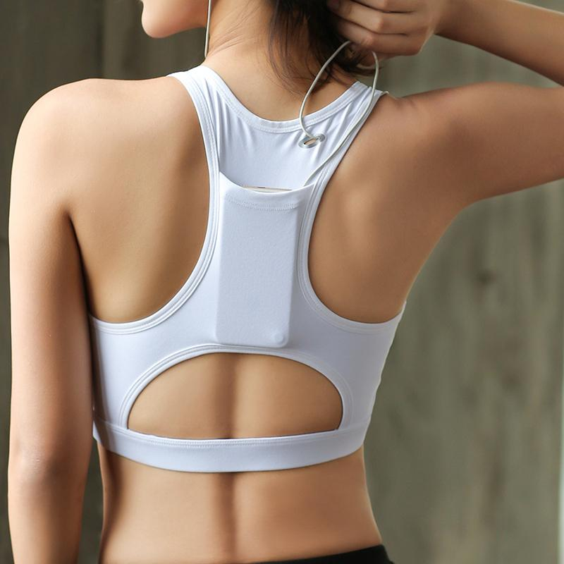 44ab86e37c 2019 New White Women Sport Bra Phone Pocket Running Bras Yoga High Impact  Padded Fitness Training Workout Top Active Wear Sports Wear From  Kuaigoubian