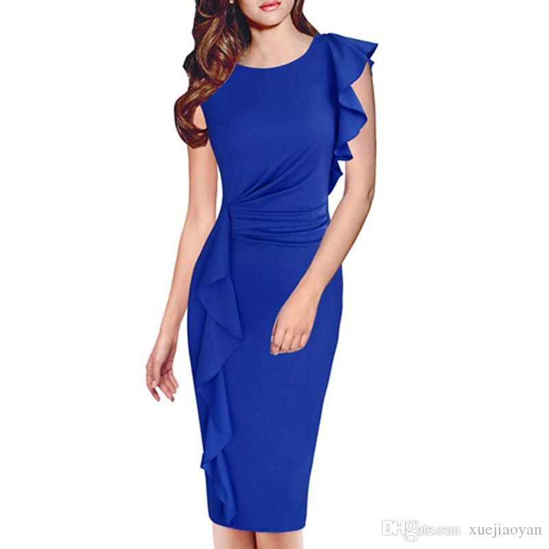 2cf2b468464 M-XXXL Wholesale Women s Dresses Fat Woman Plus Size Clothes Autumn Career  Dress Ladies Clothing 2018 Winter Autumn