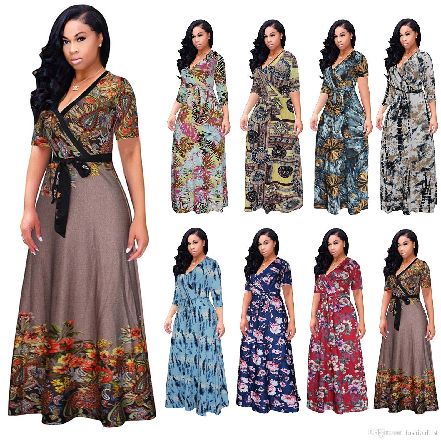 6f0d5f03d3b57 free shipping Sexy v neck Print pakistani dress design salwar kameez plus  size Summer Wear hot sale women lady maxi Floor Length Dress