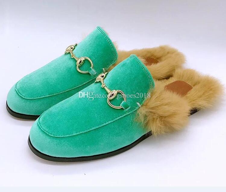 Kadife Katırlar Kadın Erkek Moda Sandalet Toka Hakiki Deri Kürk Slip-on Ayakkabı