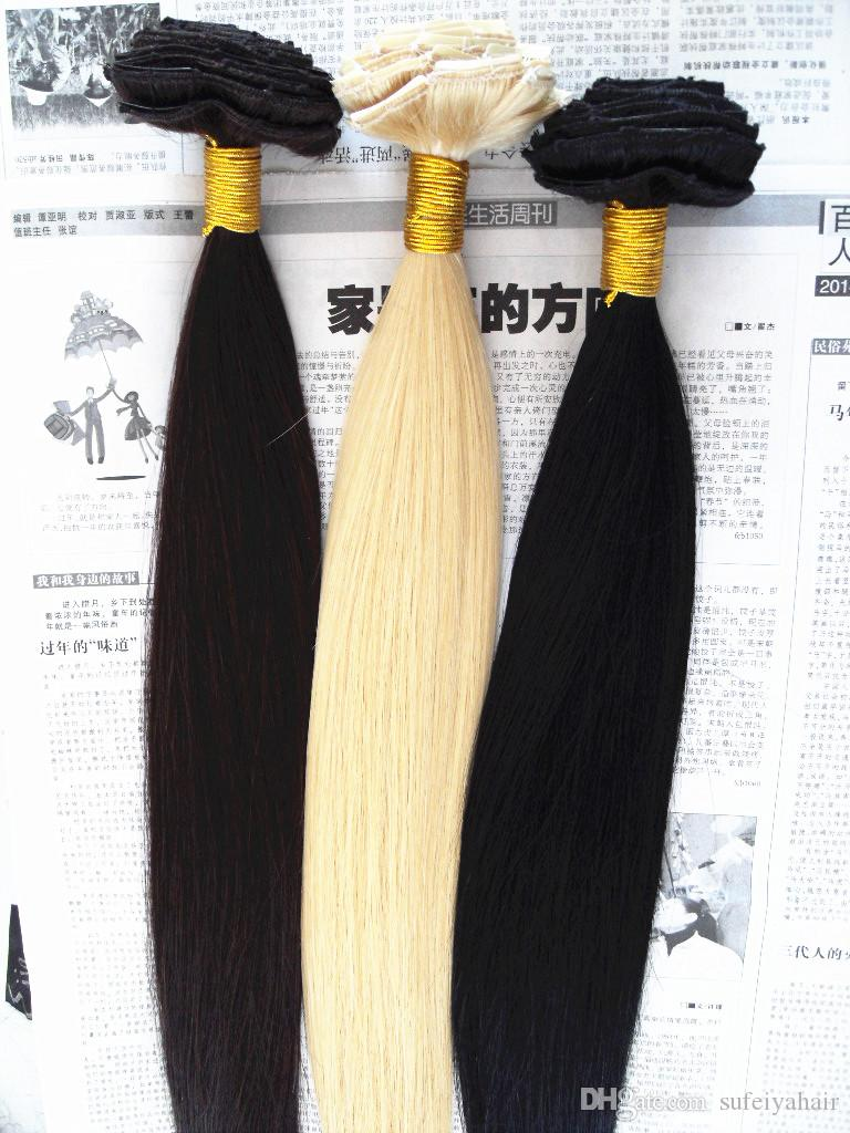 Brazilian Clip In Human Virgin Straight Hair Extensions Remy Blonde 613# dark brown black colorClip In Hair Extensions