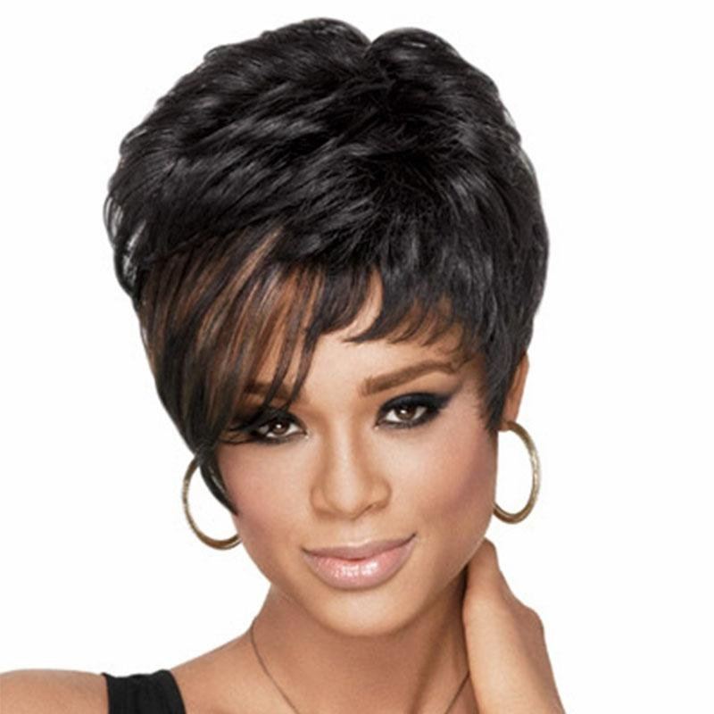 10 inches Fashion Women Synthetic Wigs Short Curly Black Mix Brown Hair Wig Hat Natural full wig