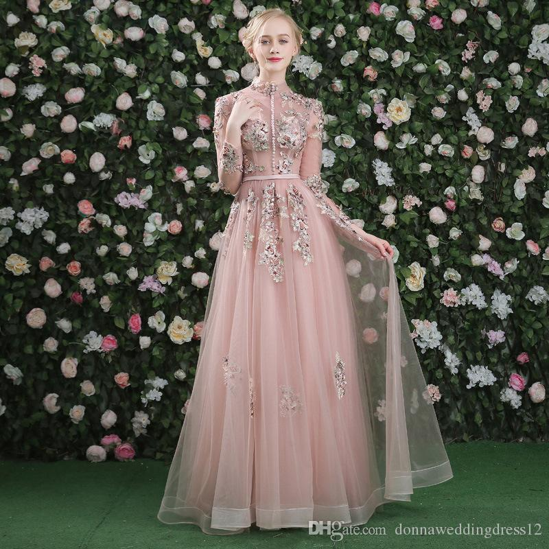 Vestido De Noiva 2018 Elegant Long Tulle Prom Dresses Vintage High Neck  Embroidery Beads Buttons Formal Evening Gowns Celebrity Party Dress Big Prom  Dresses ... 548d97032aad