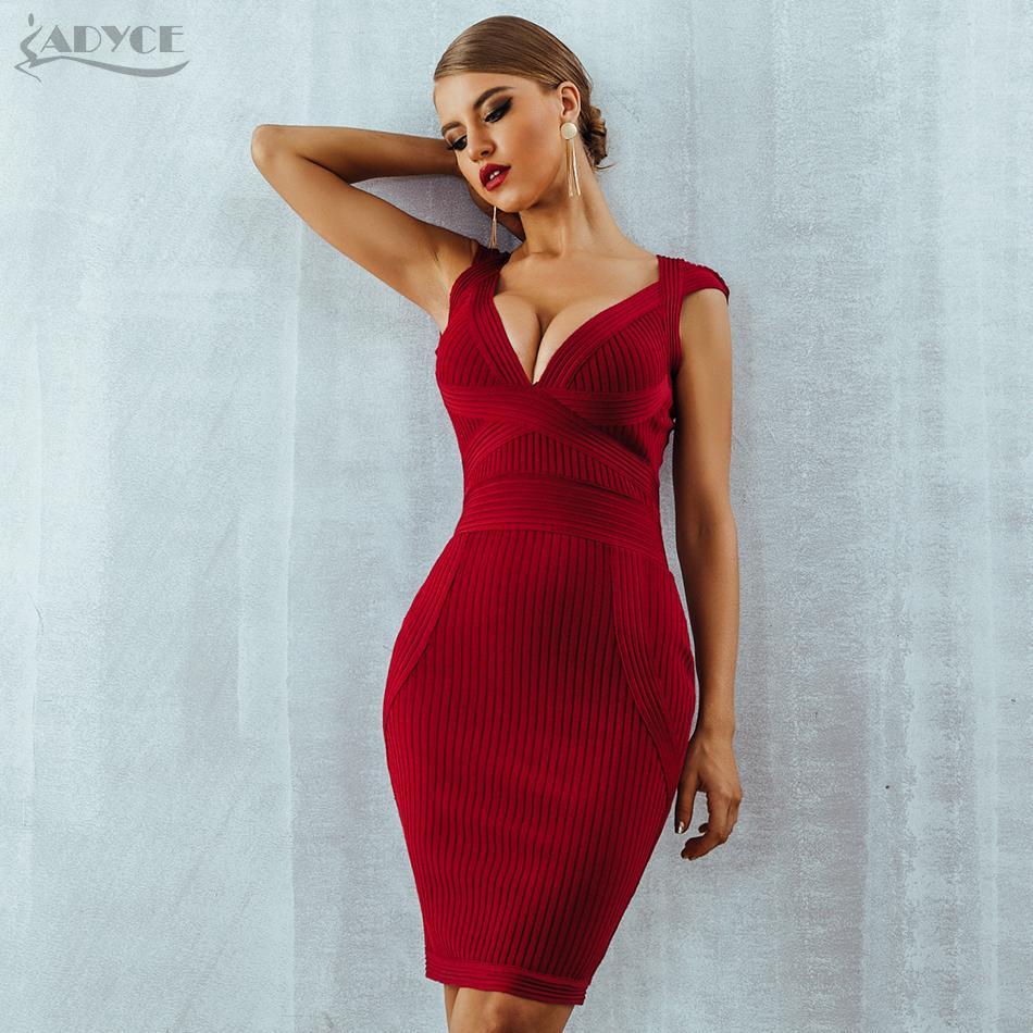 712f25d9254 Großhandel ADYCE Neue Frauen Sommer Bodycon Kleid Rot V Ausschnitt Kurzarm  Vestidos Verano 2018 Promi Runway Abendgesellschaft Kleider S919 Von  Huang02