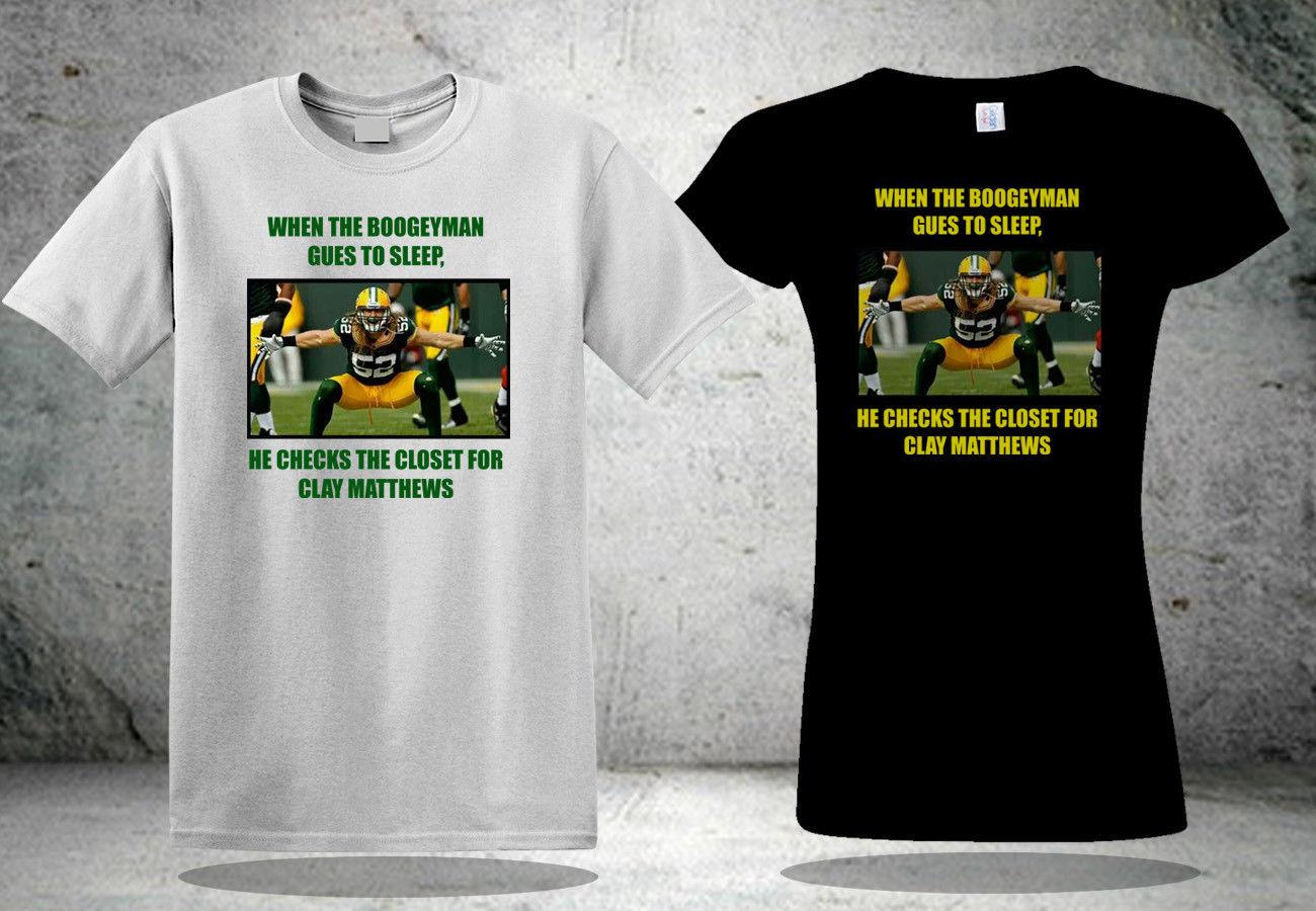 check out bd009 6df04 Clay Matthews Bay Packers Boogeyman T-Shirt Black&White Tee Shirt 3 Cool  Casual pride t shirt men Unisex New