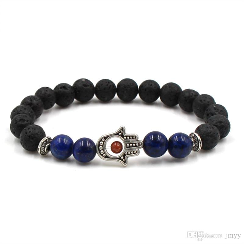 2019 New Unisex Casual Lava Rock Beads Hand Bracelet 8mm Alloy Natural Stone Fatima Palm Bangles For Women & Men Gift