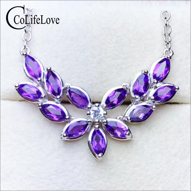 7a7815c9abe9 Elegante collar de plata con amatista para la fiesta 13 piezas naturales  VVS collar de plata con amatista sólido 925 joyas