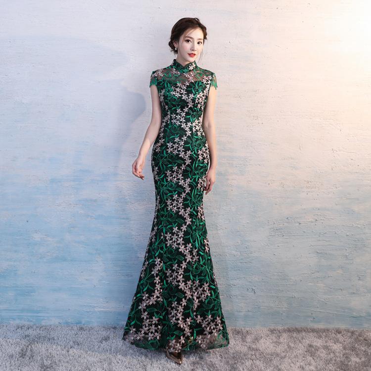 2530d3160 Compre HYG0038 Nuevos Vestidos Chinos Modernos Tradicionales Qipao  Cheongsam Vestido De Novia Para Las Mujeres Largo Encaje Verde Más El  Vestido De Fiesta ...