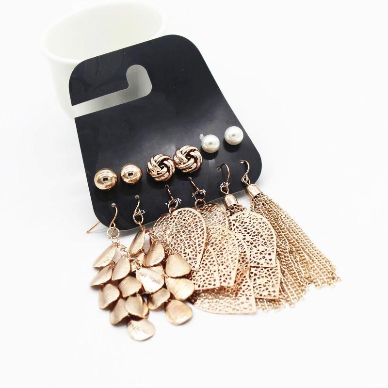 74f843637e64 Compre Wing Yuk Tak 6 Par   Set Color De Oro Vintage Hojas Borla Larga Simulado  Perla Stud Pendientes Set Para Mujeres Nueva Joyería Brincos A  35.21 Del  ...