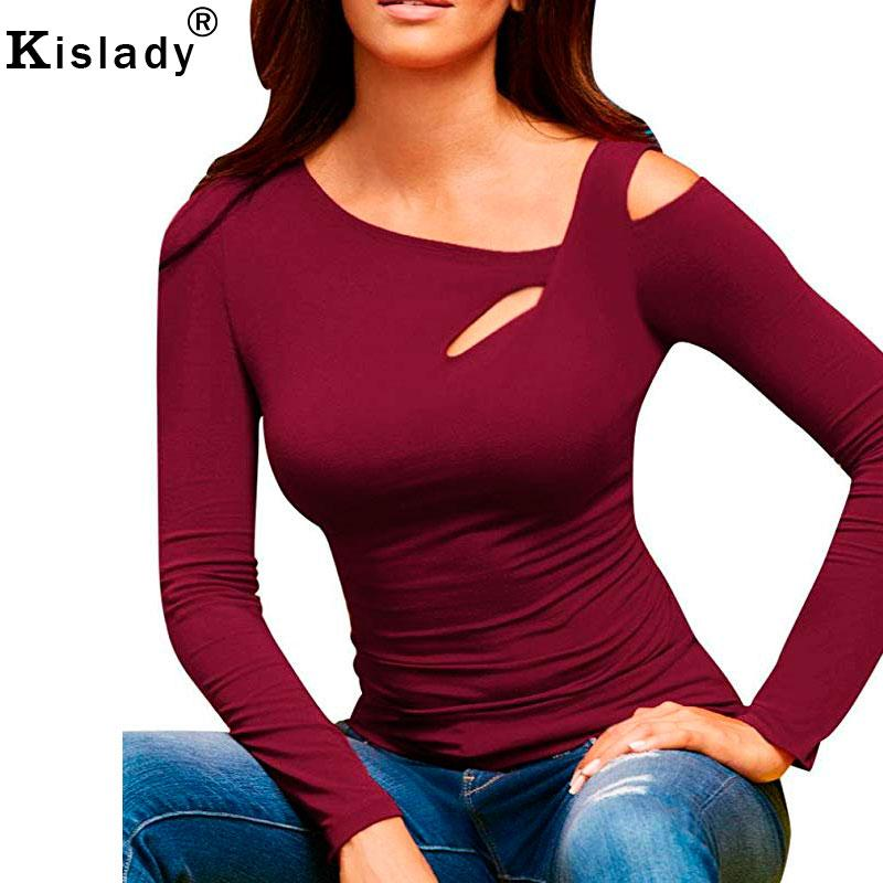 3438abc732b Kislady Womens Casual Cold Shoulder Tops Long Sleeve T Shirt Tee New Sexy  Cut Out One Shoulder Top Bodycon Leotard T Shirts White T Shirts Offensive  T ...