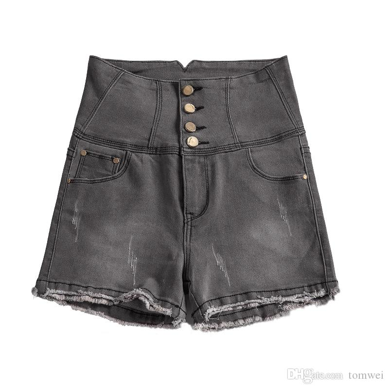 f59b284719 2019 Large Size Denim Shorts Stretch Sexy High Waist Jeans Shorts Female  Europe And America Summer Clothing Fashion 2018 From Tomwei, $16.09 |  DHgate.Com