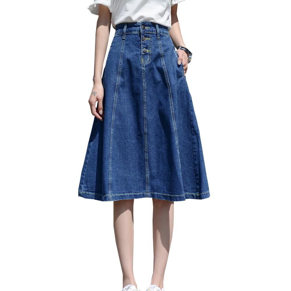 7476da2e2f7 2019 2018 High Waist Women Denim Skirt Midi Oversize Women A Line Skirt  Plus Size 4XL 7XL Midi Skirts Big Size Faldas Saias From Sugarlive