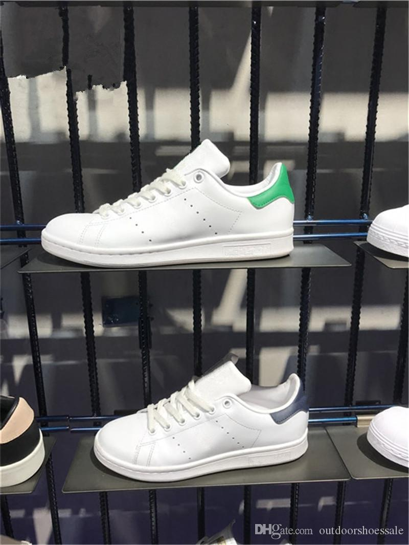 e84771ed3e8 2019 Wholesale Stan Smith 2018 Top Quality M20324 Green Female Flat Leather  Grey Golden Hard Bottom Running Shoes Men Women Sneakers M20325 From ...