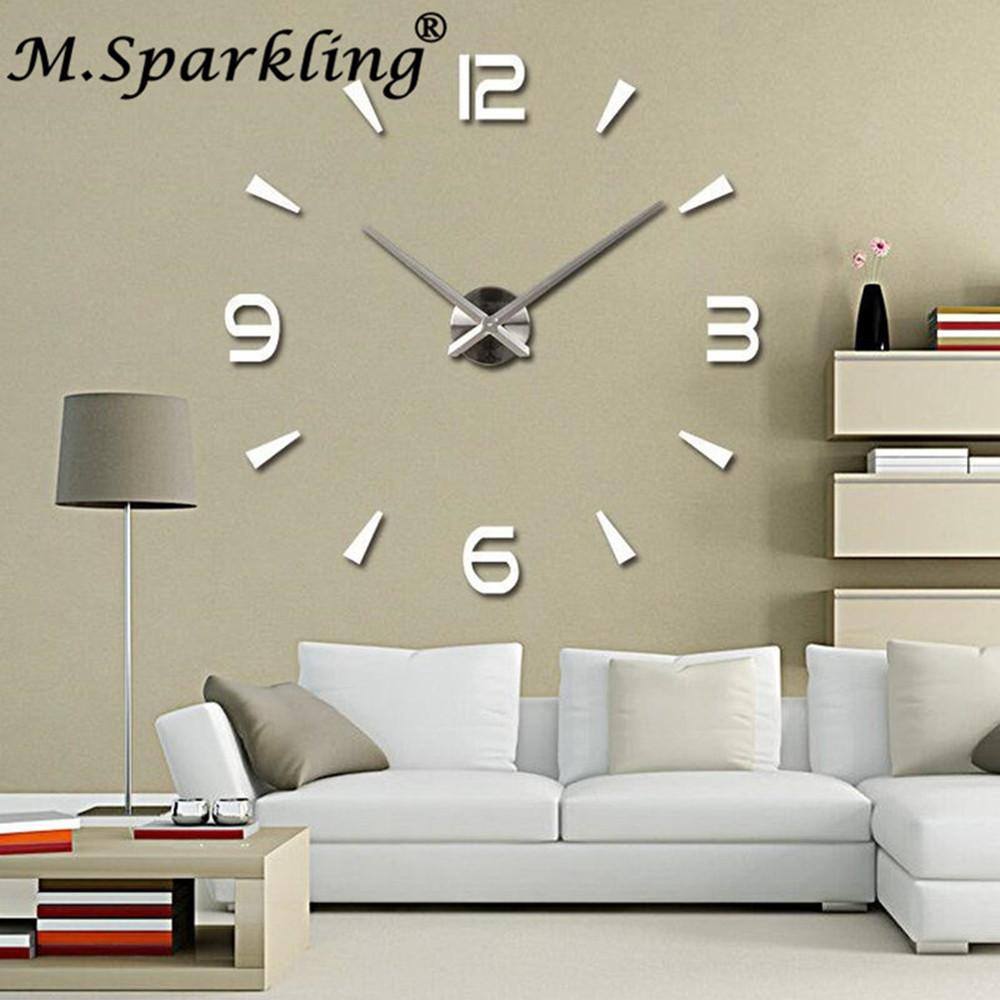 4beede2fd41 Compre Moda Sala De Estar Acrílico + Eva 3d Adesivos De Parede Relógios Diy  Grande Relógio De Parede De Decoração Para Casa De Herbertw