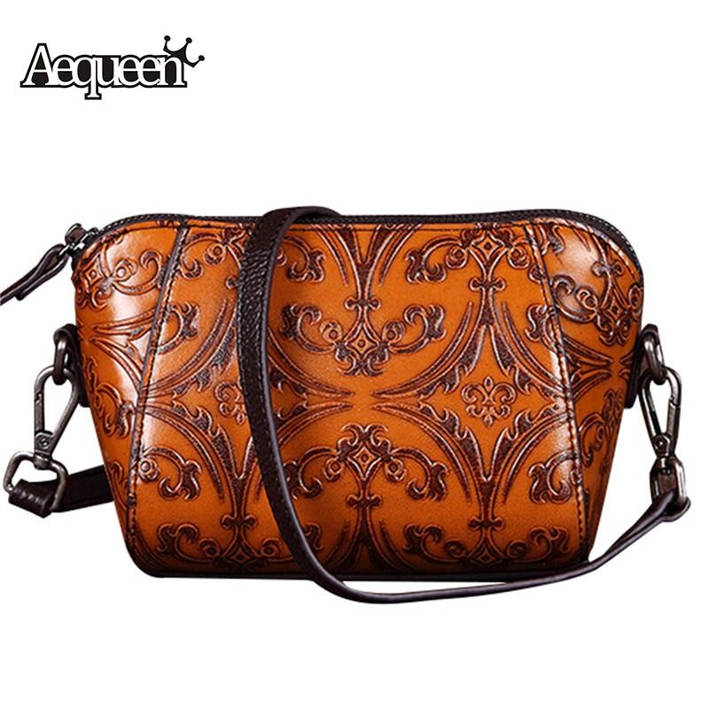 ef417ad73401 AEQUEEN Embossed Genuine Leather Shell Crossbody Bag Retro Women Messenger  Bag Chinese National Style Shoulder Bags Small Bolsa