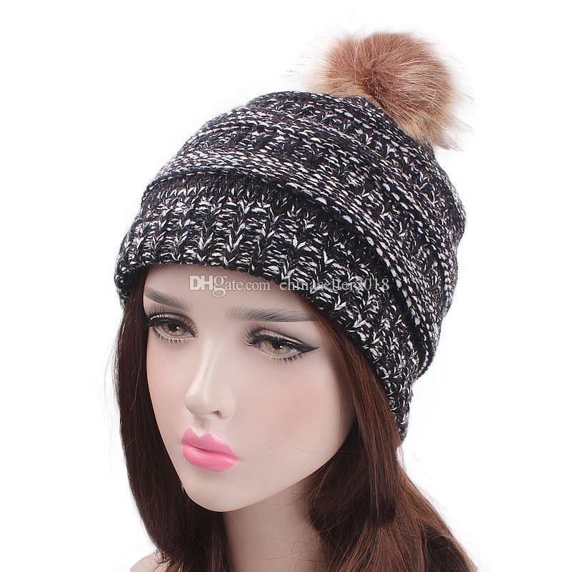 ef01510ee67 New Women s Stretch Winter Ski Warm Ball Twist Knit Head Hat Chemo Beanies  Cap Headgear Thick Warm Wool Knitted Female Hats Women Knitted Hat Women  Beanie ...
