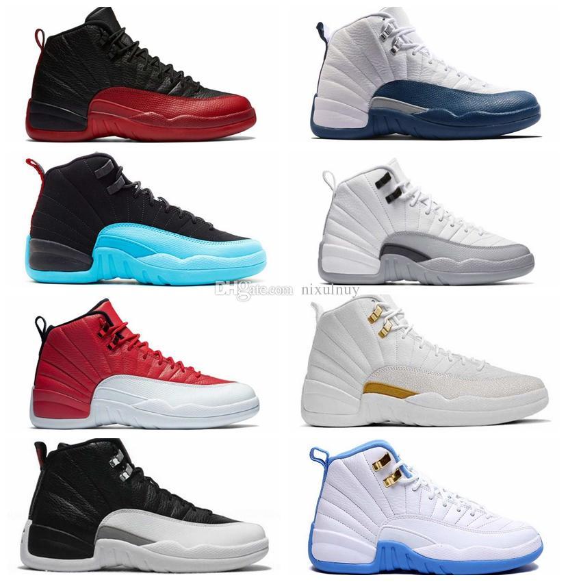 dad28b11890 2018 12 12s Men Basketball Shoes White the Master Flu Game Black Gym ...