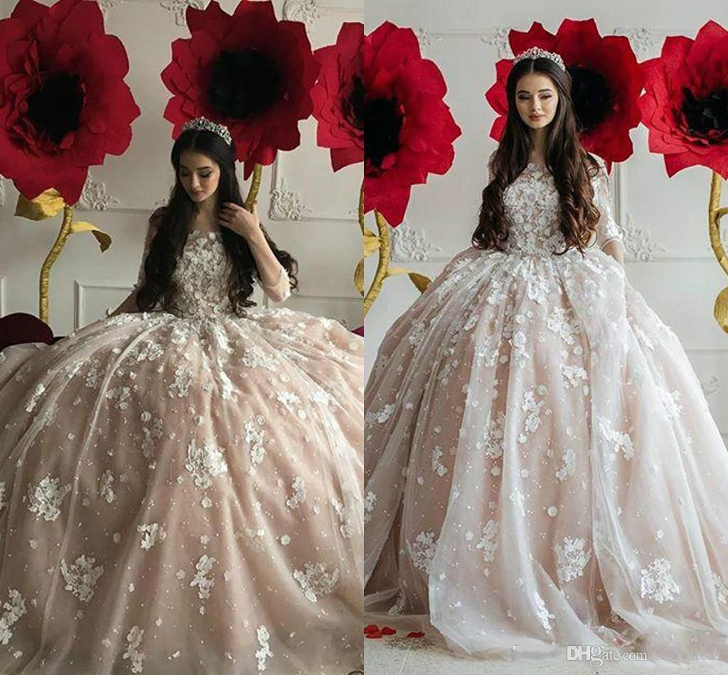 Luxury Light Pink Ball Gown Puffy Prom Dresses Boat Neck 3D Floral Court Zipper Beaded Formal Organza Pageant Evening Party With Sleeve 2018