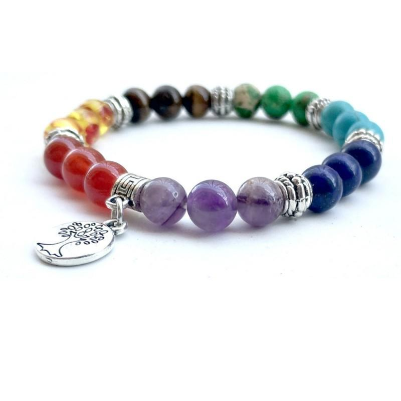 65d215f071e87 Free DHL 4 Style Gemstone Natural Crystal Stone Beads 7 Chakras Yoga Tree  Of Life Pendant Fashion Silver Jewelry Christmas Gift D152S Girls Charm  Bracelet ...