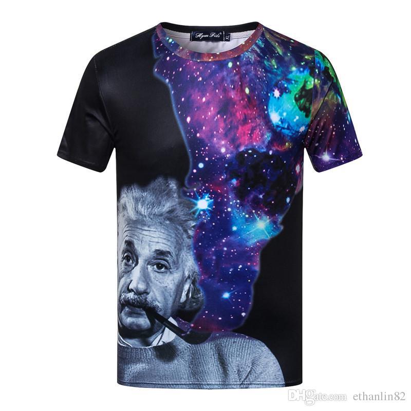 4f531c383 Compre Galáxia Albert Einstein Camiseta Homens 2018 Verão Engraçado Algodão  Top T Shirt De Manga Curta O Big Bang Teoria T Shirt 3XL De Ethanlin82