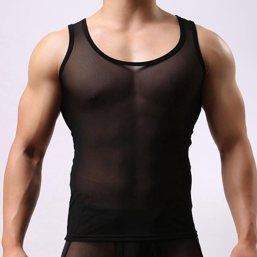 BRAVE PERSON Mens See Through Tank Tops Compression Mesh Tops Sleeveless Undershirt Men Bodybuilding Stringers Elastic