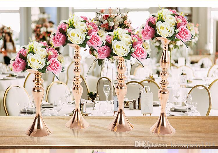 """white silver gold 50cm 20""""metal vase stand candle holder candlestick wedding centerpieces decoration wedding photo booth props"""