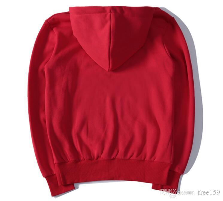Automne hiver rouge bklack couture boîte de broderie plus sport Cachemire manches longues sweat-shirt pablo impression pull à capuche pull Tops