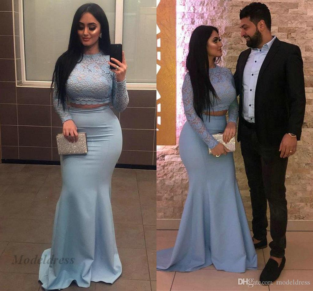 93a042d0574 Light Blue Two Pieces Prom Dresses With Long Sleeves Lace Tops Mermaid  Elastic Satin Floor Length Sexy Arabic Evening Gowns Formal Estelles Prom  Dresses ...