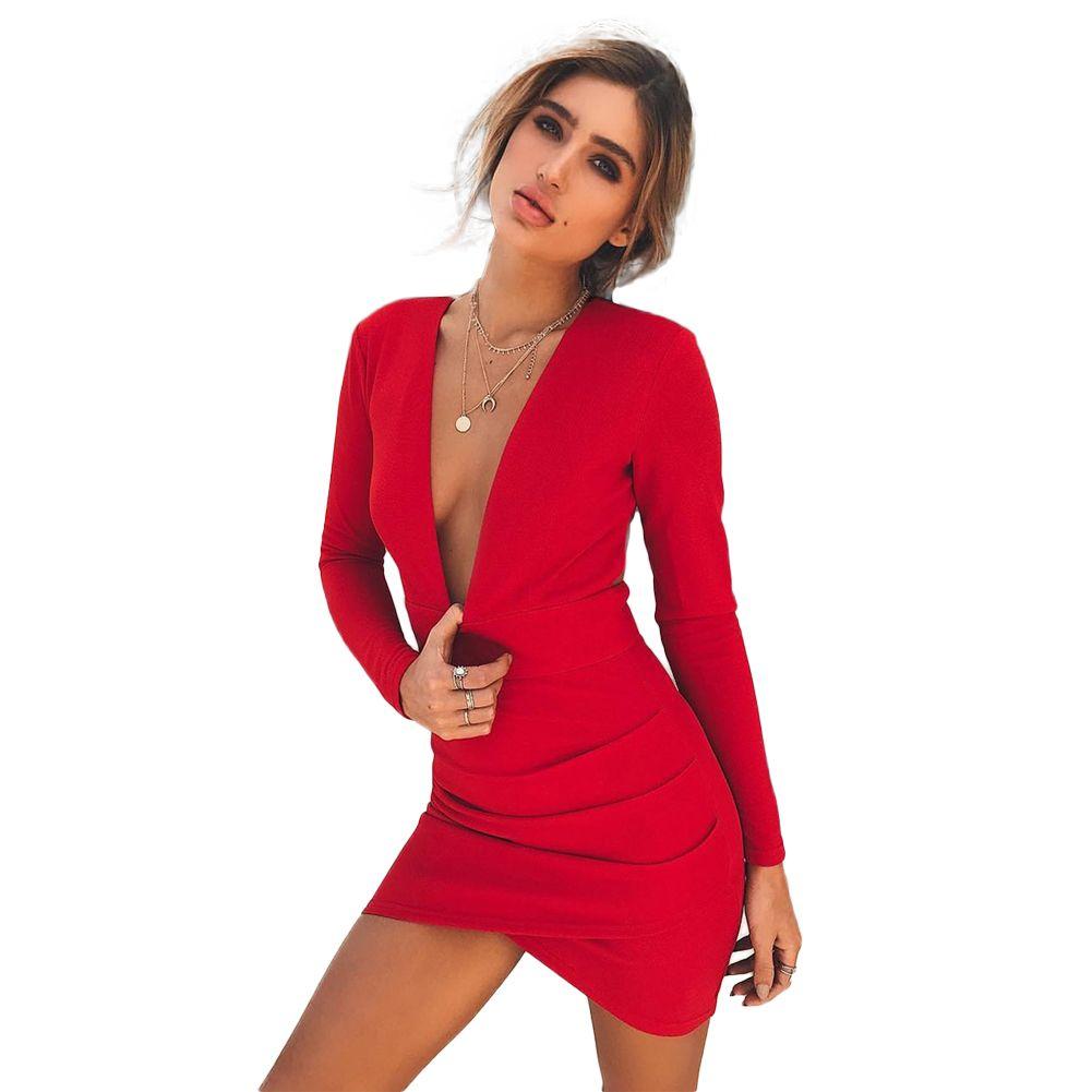 9773e4503b 2018 Sexy Dress Women Backless Deep V Neck Bandage Dress Long Sleeve  Crisscross Hem Party Club Bodycon Mini Dress Red Vestidos Brides Dress  Summer Evening ...