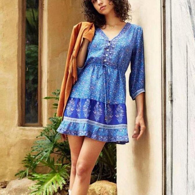 21fa18a227fc Autumn 2018 Blue Mini Dress V-Neck Floral Print Bohemian Women ...