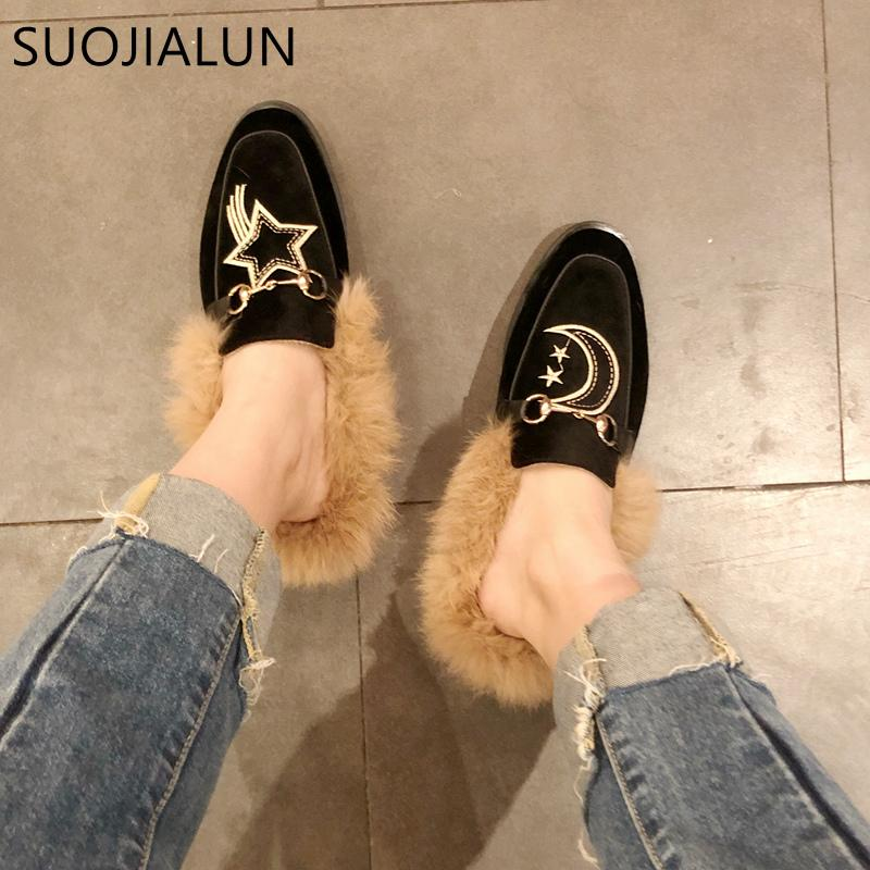a301a3f04f4d SUOJIALUN Women Fur Slippers Plush Embroider Outdoor Slipper Slip On ...