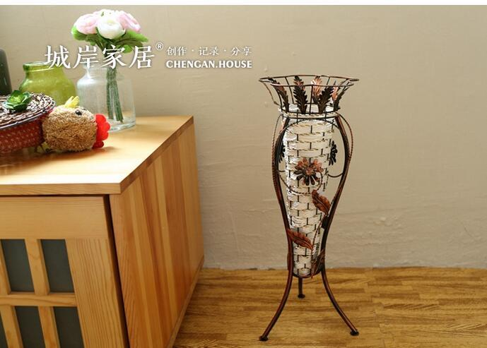 Vintage Hand Woven Iron Floor Vase American Country Style Home Decor Vases Simulation Flowers Flower Arrangement Necessary Tall Glass