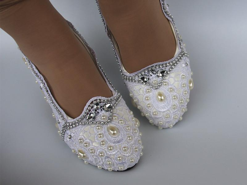 fbb890ba1aa5 Lace White Crystal Wedding Shoes Bridal Flats Low High Heel Pump Size 5 10  Platform Wedge Shoes Red Evening Shoes From Zh150108