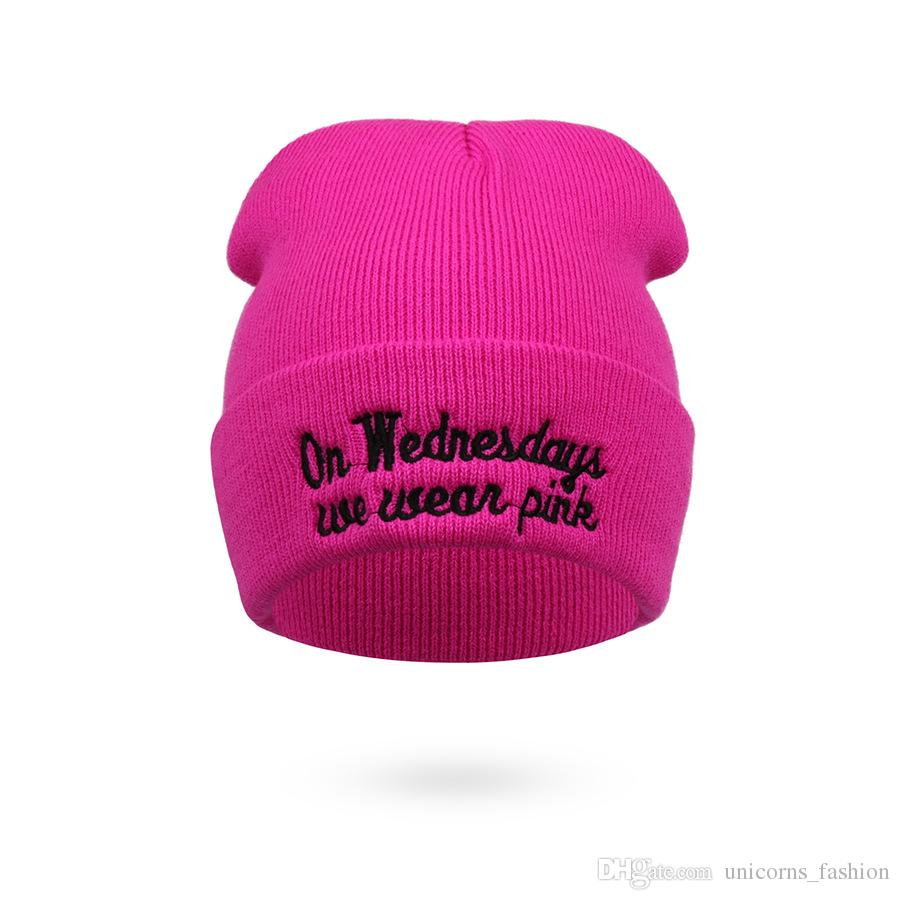 Crochet Hats on Wednesdays We Wear Pink Hat Hiphop Knitted Cap Autumn Winter Men Cotton Warm Hat Solid Color Hip-Hop Wool Hats CNY757