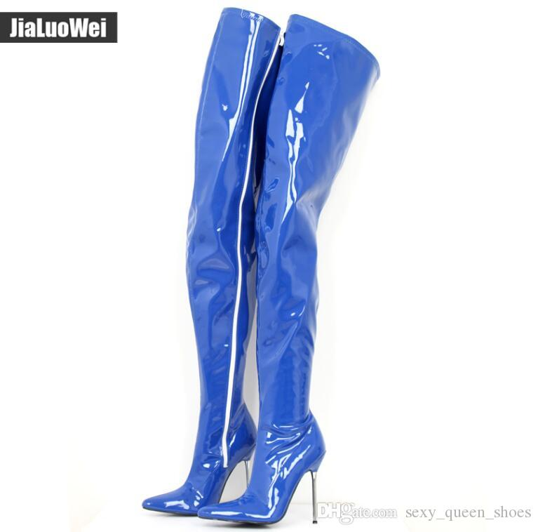 Free SHIP 2018 Sexy Fetish Shoes Unisex Long Boot High Heeled 12cm Over The  Knee Crotch Boots Women Shiny Matte Patent PU Leather Thigh High Pumps Shoes  ... b34fc126385a
