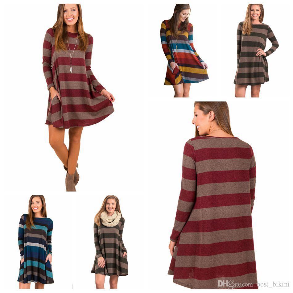 ec644dc869 Women Long Sleeve Striped Tunic Mini Dress Tops Fashion Shirt Swing Loose Blouse  Evening Party Dress LJJO4594 Buy Dresses Party Dresses Juniors From ...