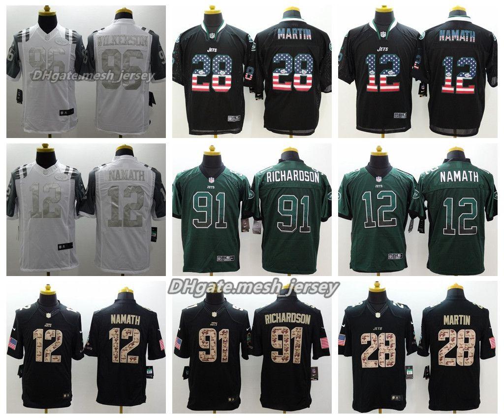 Men New York Jersey Jets 28 Curtis Martin 12 Joe Namath 91 ... ed2d19aa9