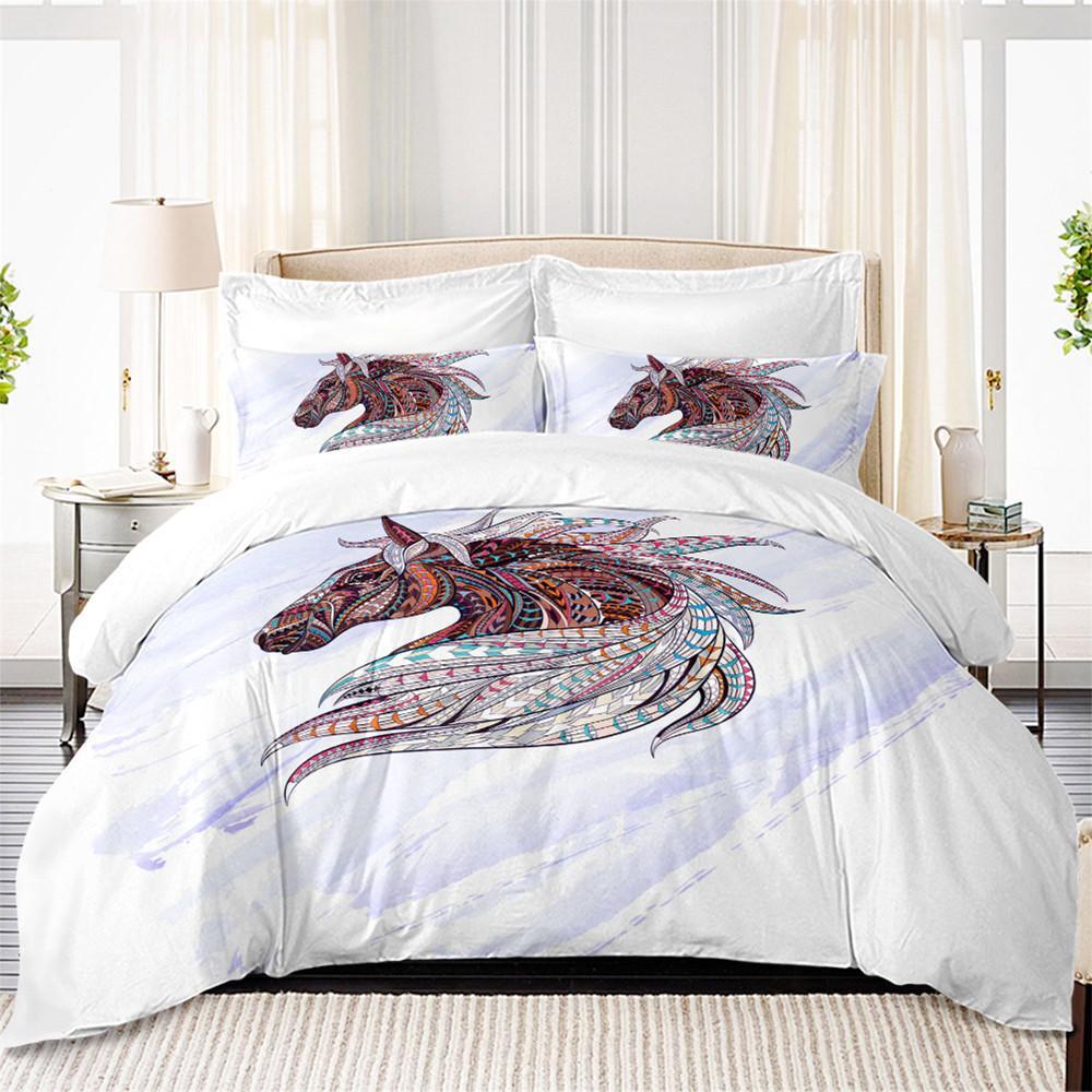 New Design Cool Bedding Set Horse Print Duvet Cover Multi Color Wild ...