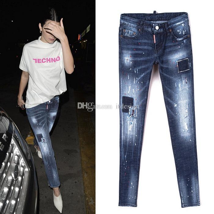 Acquista Ladies Skinny Fit Jeans 2018 Fashion Design Vendita Calda Painted  Blue Washed Cowboy Long Pants Donna A  39.2 Dal Itdesign  ac3f3705dba