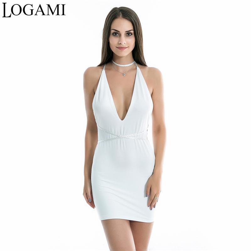 2019 Logami Sexy Deep V Neck Mini Dress Backless Dresses New Arrival