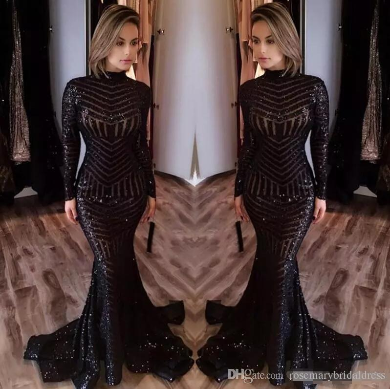 cb7f03e227d6c Long Sleeve Prom Dresses Bling Bling Black Sequins High Neck Mermaid Sexy Celebrity  Gowns Pageant Evening Dresses Real Photo Short Cheap Prom Dresses Short ...