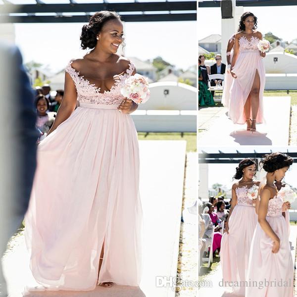 2018 جديد وردي طويل وصيفة الشرف أكمام جنوب أفريقيا الرباط زين سكوب الرقبة الجانبية سبليت الشيفون وصيفات الشرف اللباس مخصص