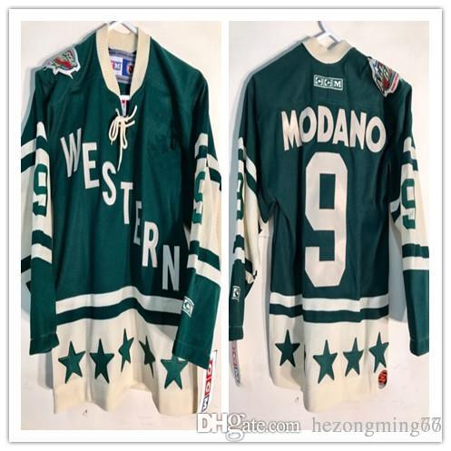 2018 All Star West  9 Mike Modano Green Hockey Jersey Embroidery Stitched  Customize Any Number And Name College Jerseys From Hezongming77 f34ab9093