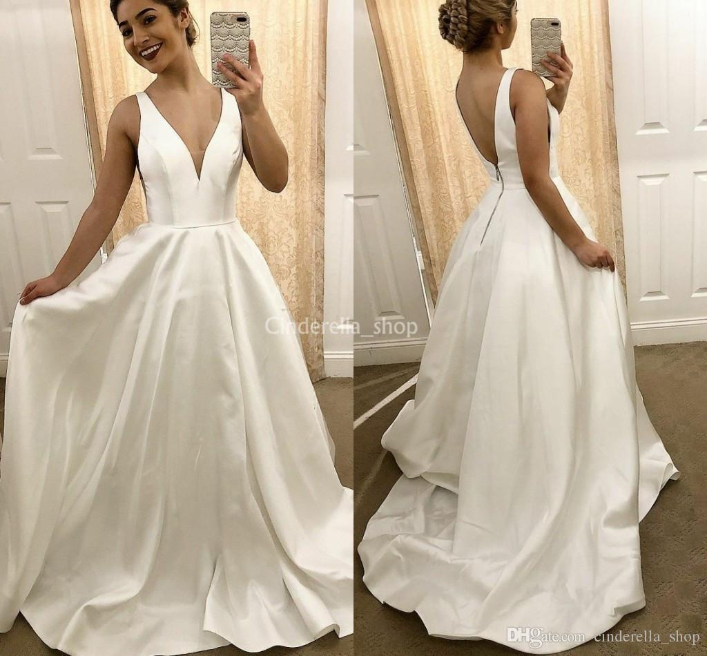 Traditional Wedding Gowns With Detachable Trains: Discount Simple Satin Traditional Wedding Dresses 2019 V