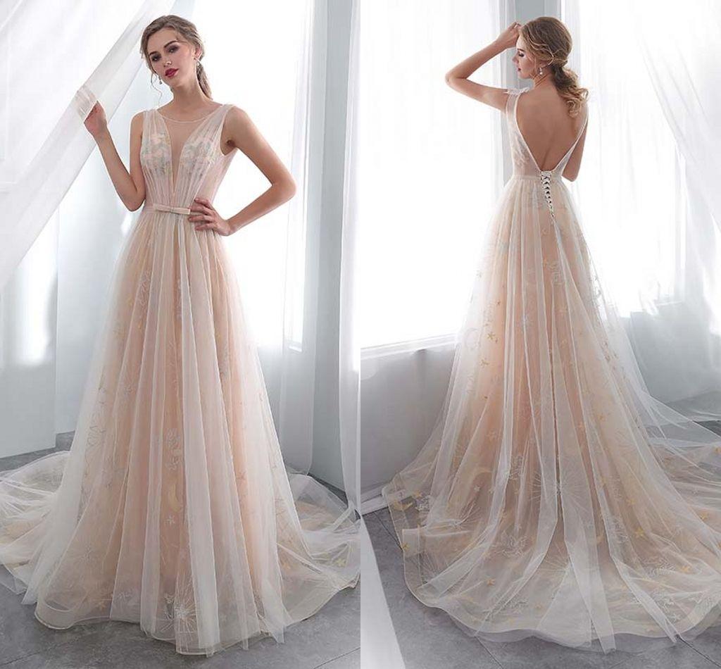f7df9482f Compre Vestidos Elegantes O Cuello Con Espalda Abierta Ver A Través De Top  A Line Encaje Largo Boda Vestidos De Novia Vestidos De Novia Para Mujeres  DH4189 ...